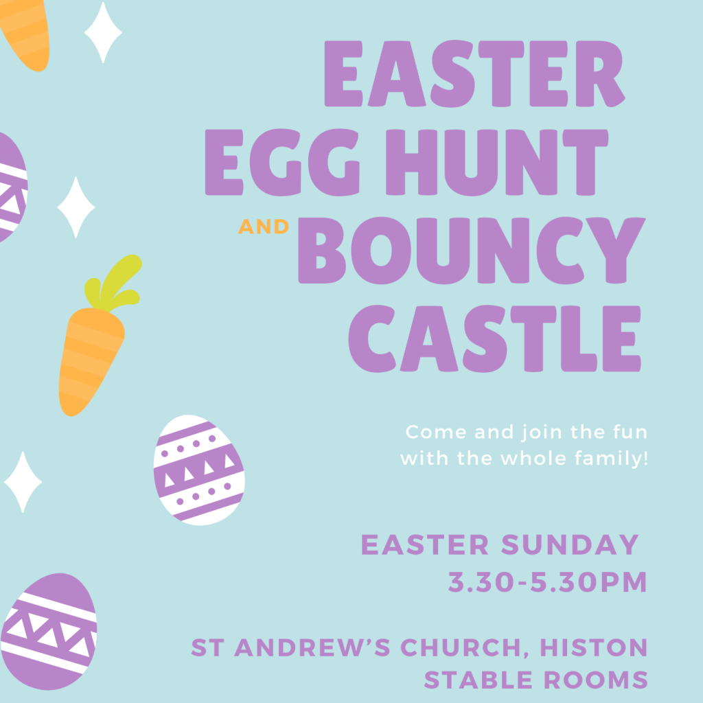 Easter egg hunt and bouncy castle on Easter Day at 3.30pm